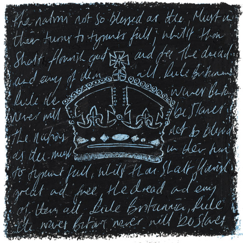 Imperial State Crown - Oil pastel and wax crayon