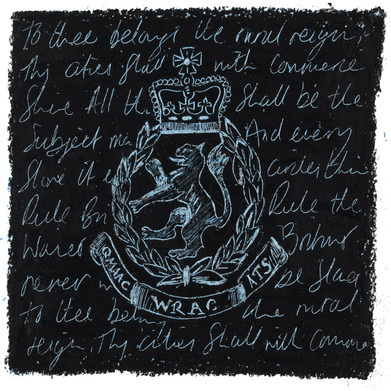 WRAC Badge - Oil pastel and wax crayon