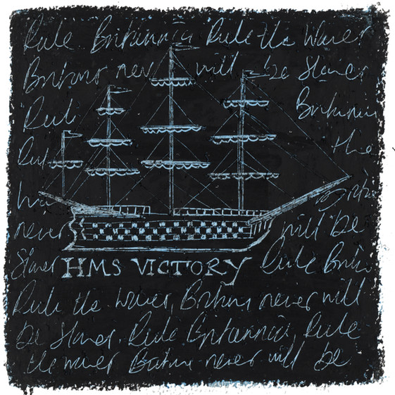 HMS Victory - Oil pastel and wax crayon