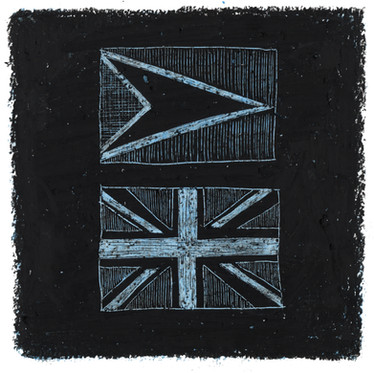 The Golden Arrow & Union Flag - Oil pastel and wax crayon