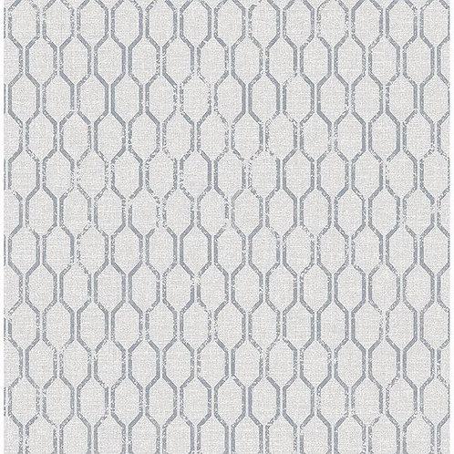 Geometric Silver on Grey Linen