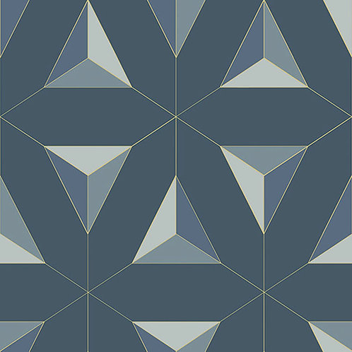 Geometric Triangles Dark Blue