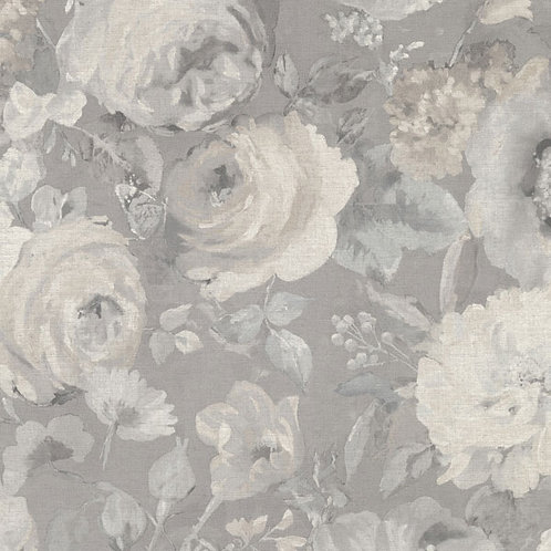 Flowers Grey on Linen Texture