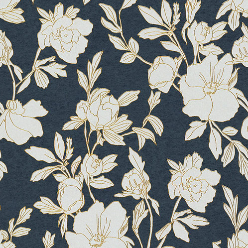 Flowers Dark Blue/White/Gold