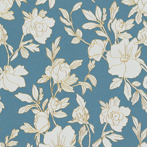 Flowers Turquoise/White/Gold