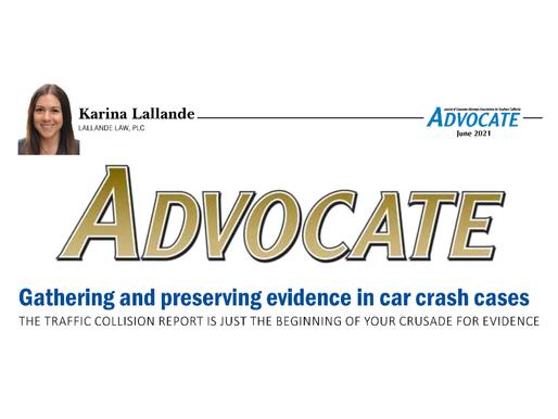 ADVOCATE MAGAZINE PUBLISHEs ARTICLE WRITTEN BY KARINA LALLANDE
