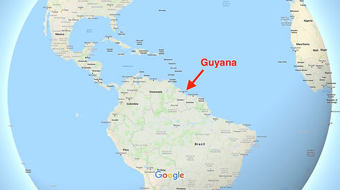 Map indicating Guyana in South America.