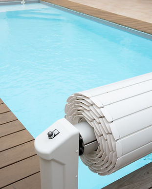 white rolling shutterpool protection on
