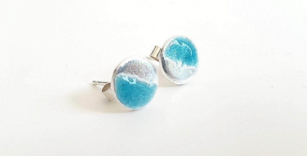 two tone silver enamel studs turquoise