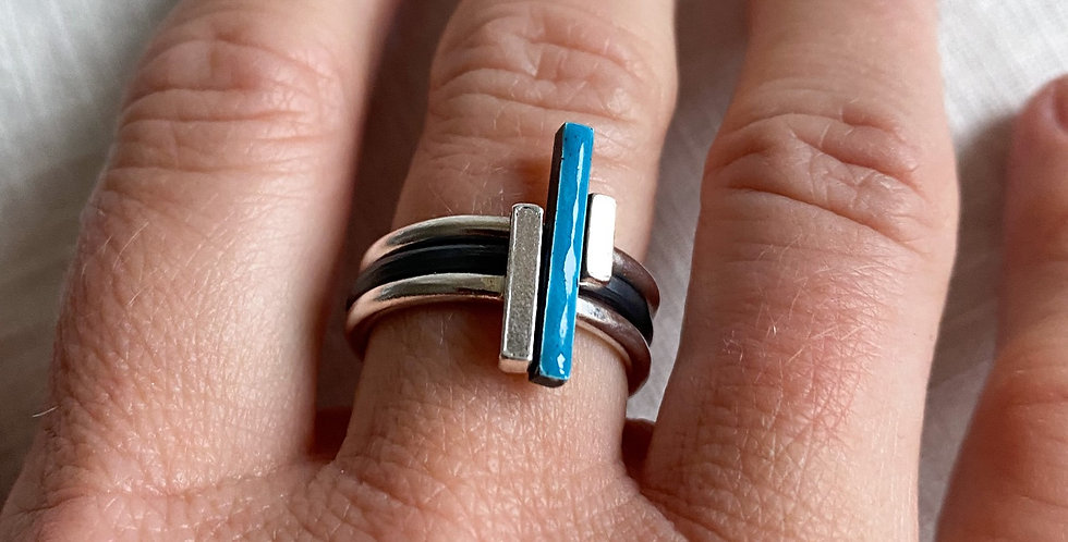 Enamel Bar Stacking Rings - Set of Three