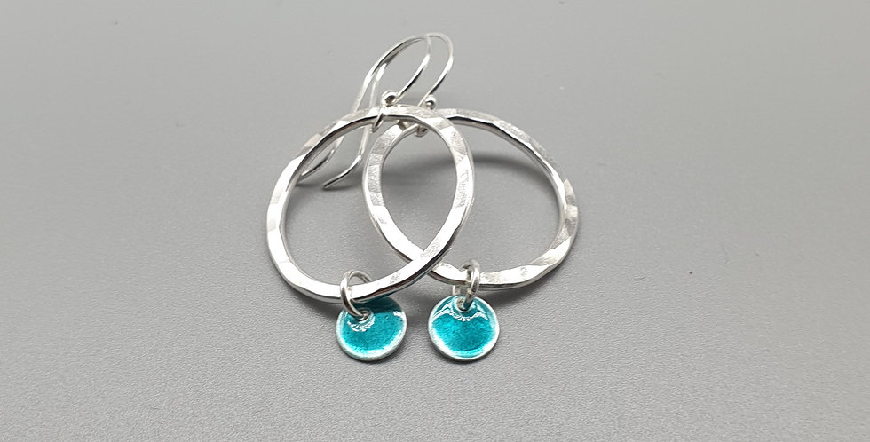 Orbit Silver Enamel Hoop Earrings