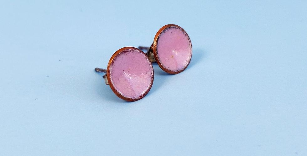 Pink Copper Enamel Studs