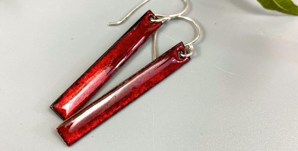 Ruby Red Enamel Earrings