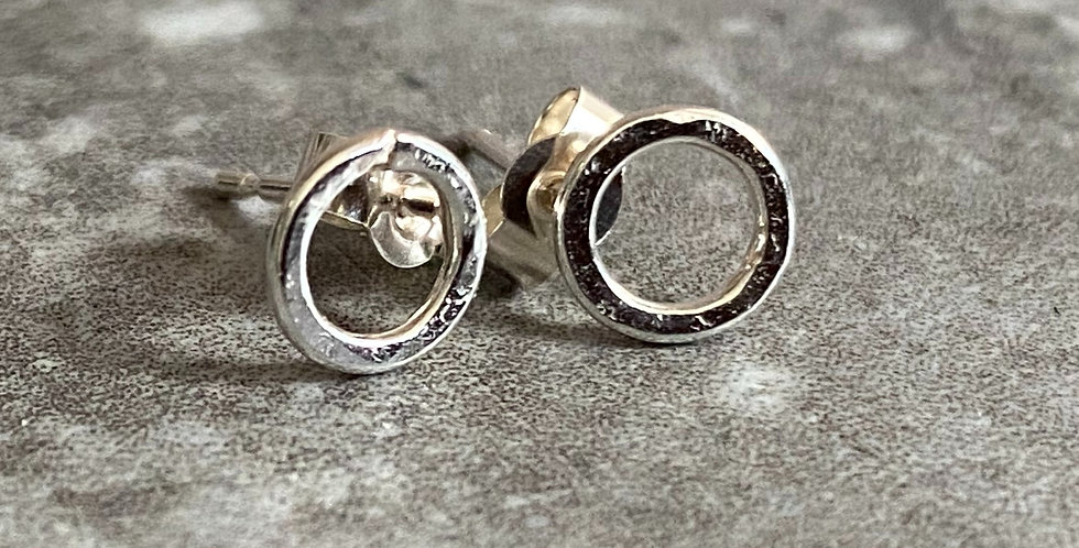 Tiny Sterling Silver Circle Earrings