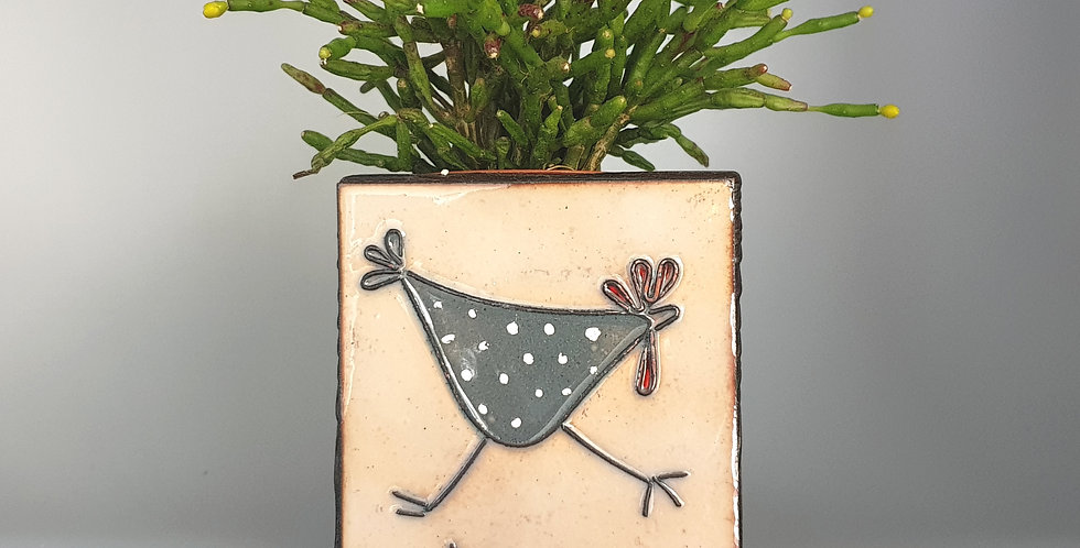 chicken enamel and wood planter