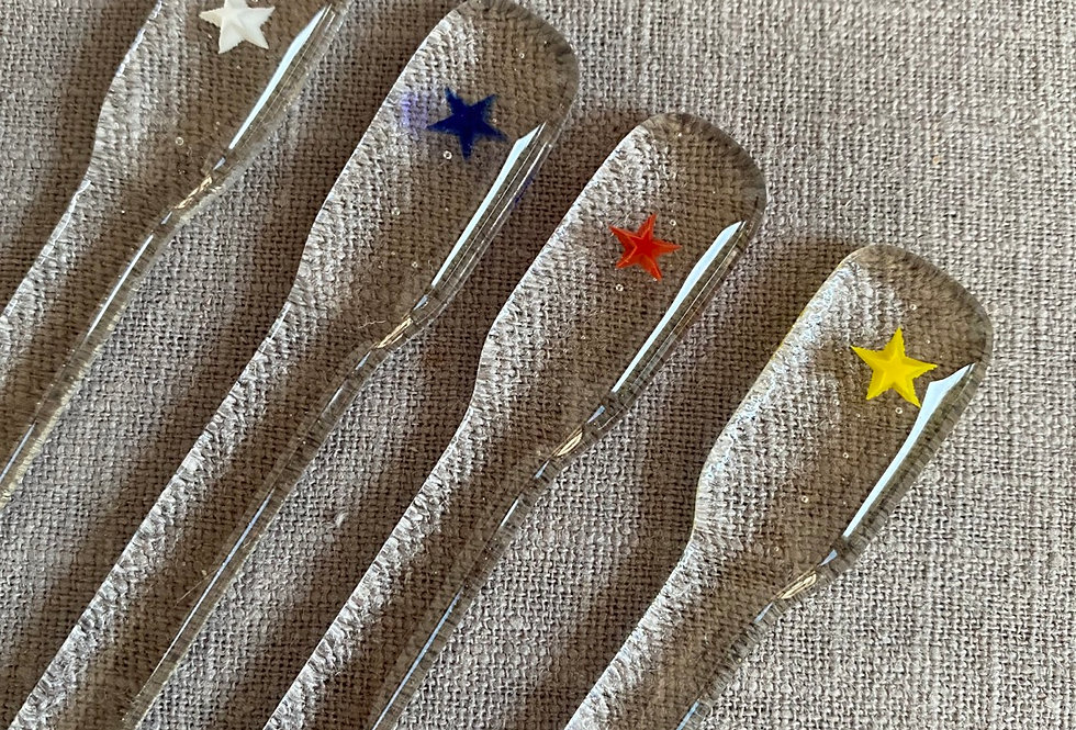 Fused Glass Swizzle Sticks - Stars