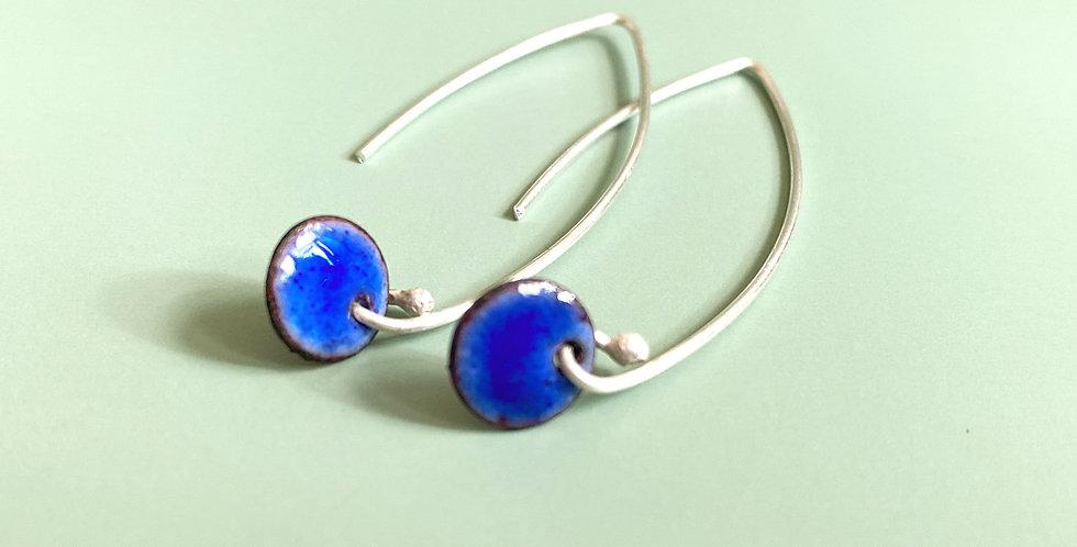 Delicate Sterling Silver and Enamel Drop Earrings
