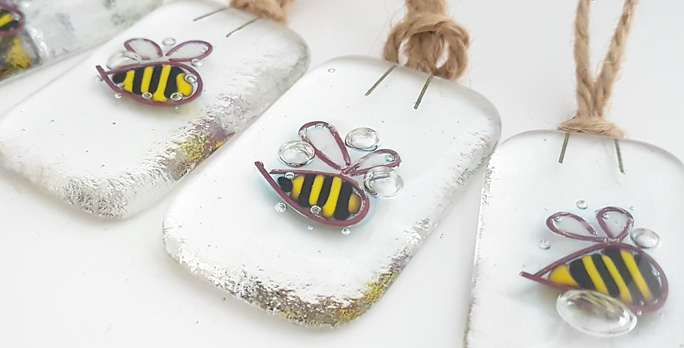 Fused Glass Bee Decorations