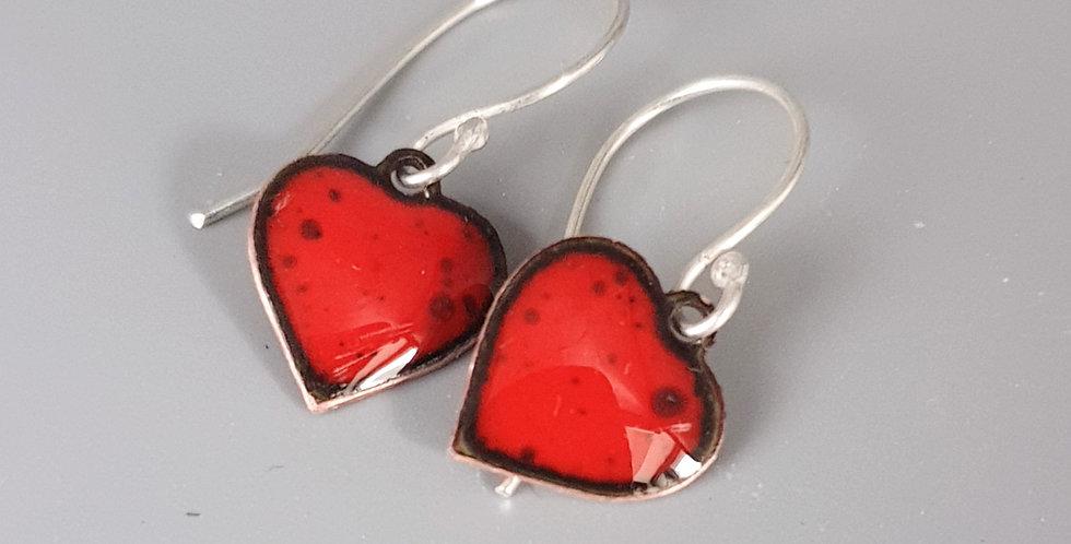 Red Enamel Heart Drop Earrings