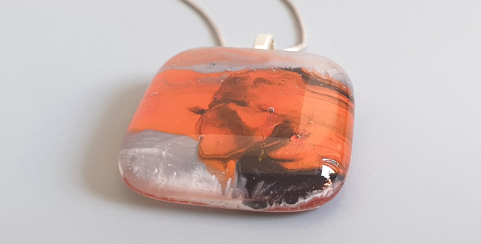 Abstract Fused Glass Pendant -Red