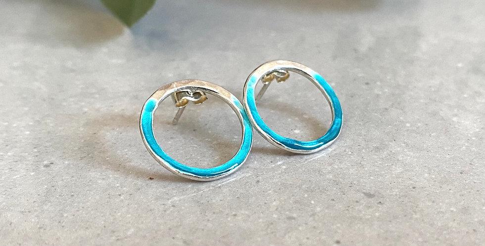 Two Tone Enamel Circle Earrings