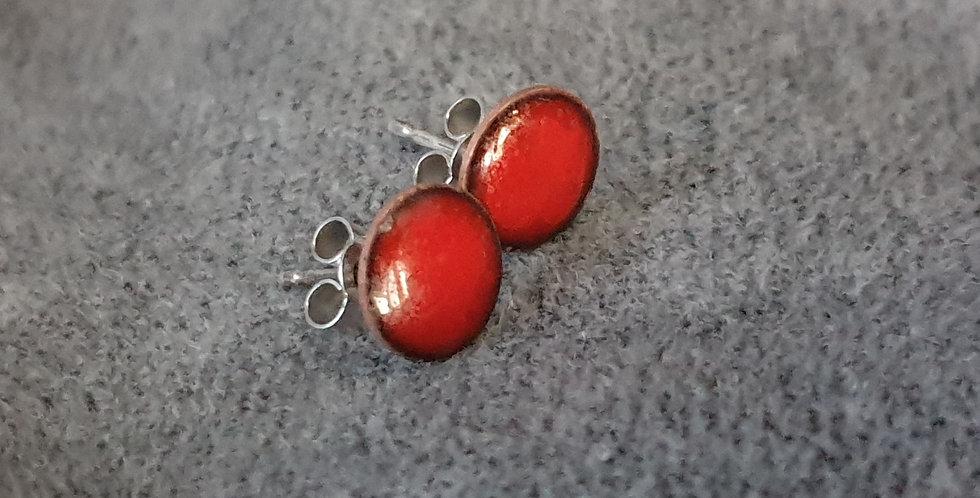 small handmade red enamel studs