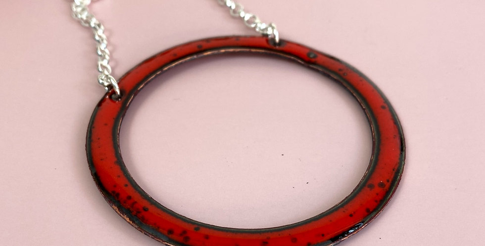 Large Red Hoop Necklace