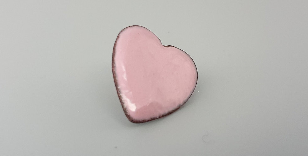 Pastel Pink Enamel Heart Brooch
