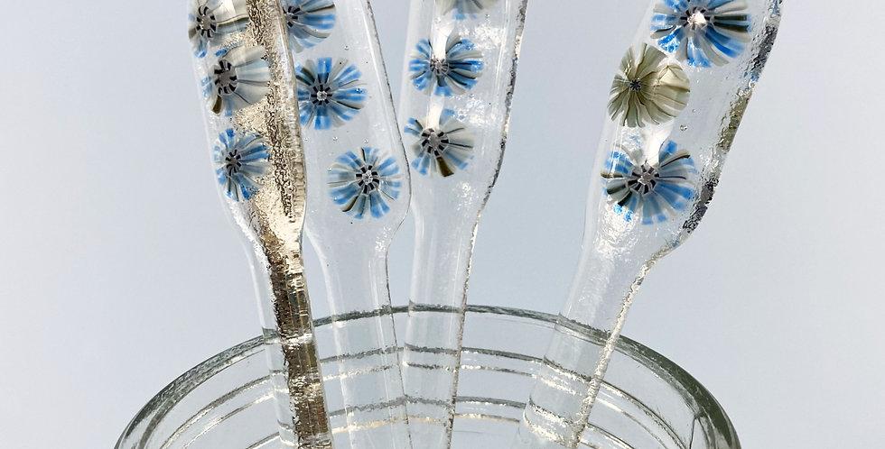 Fused Glass Swizzle Sticks - Winter Flower