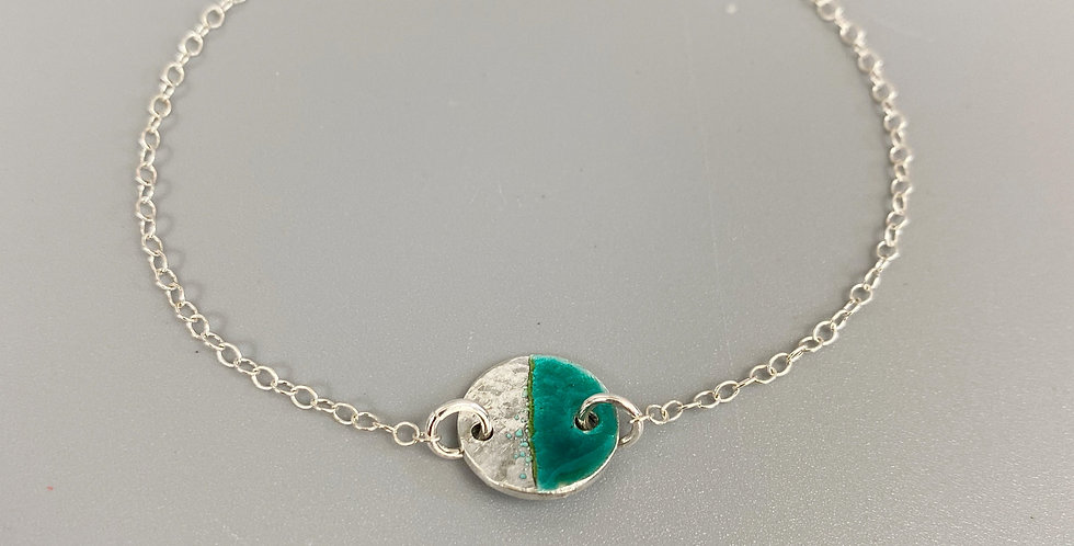 silver and turquoise enamel bracelet