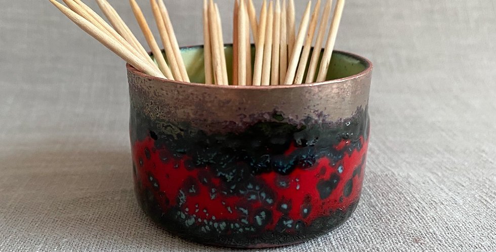 Red and Lime Green Enamel Pot