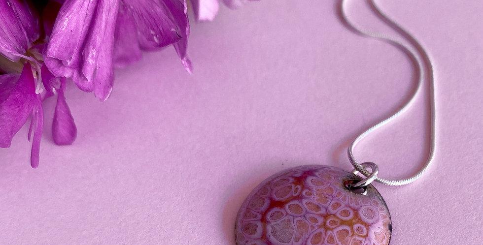 Domed Crackle Effect Enamel Disc Necklace