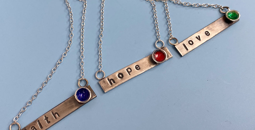 Custom Personalised Hand Stamped Bar Necklace