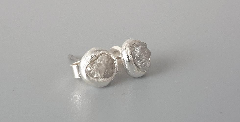 raw diamond stud earrings