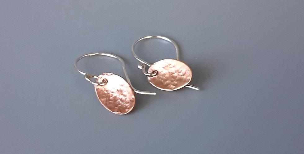 Copper Oval Drop Earrings