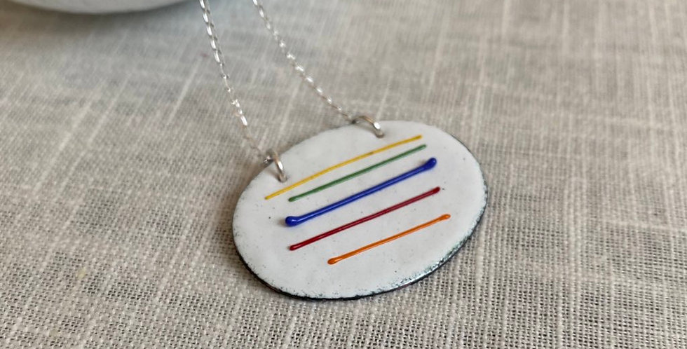 Oval Rainbow Necklace in copper and enamel