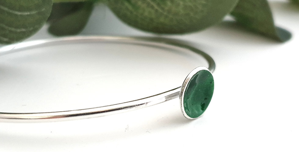 Silver and Green Enamel Disc Bangle