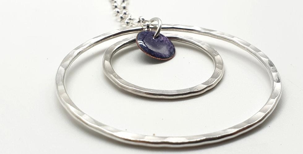 orbit silver enamel hoop pendant