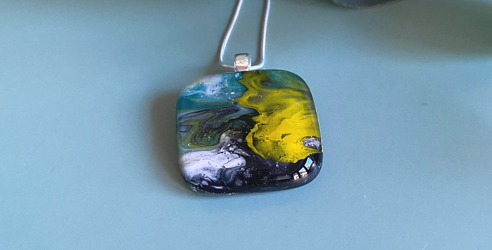Abstract Fused  Glass Pendant - Teal and Yellow