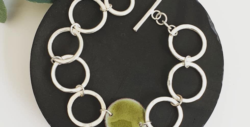 Luna silver enamel bracelet green