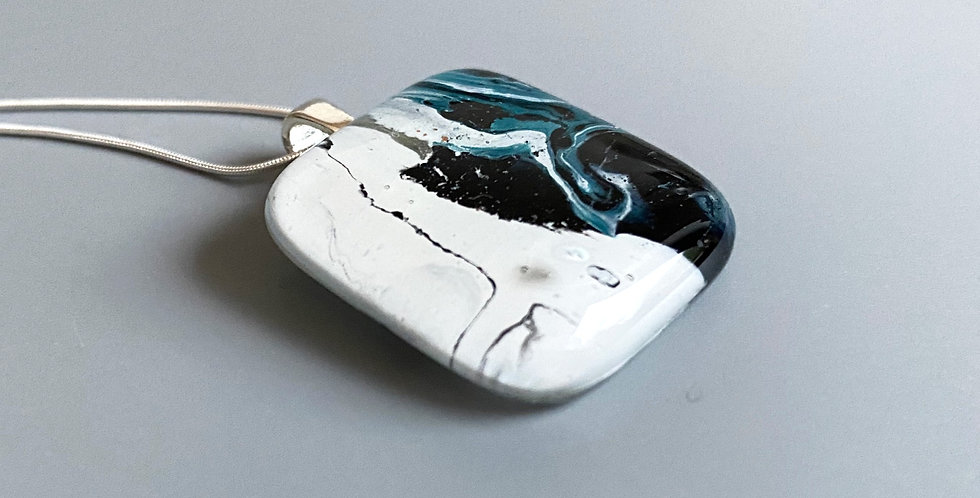 Abstract Fused  Glass Pendant - Teal and White