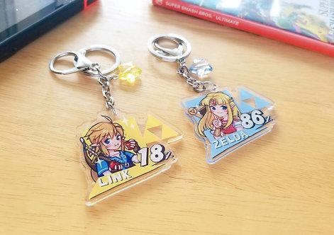 Smash Bros Link & Zelda Keychains