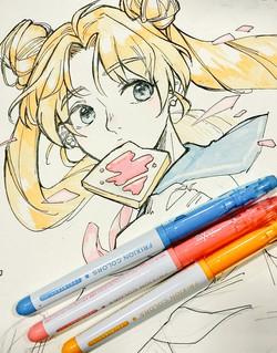 Usagi (Sailor Moon, marker & pen)