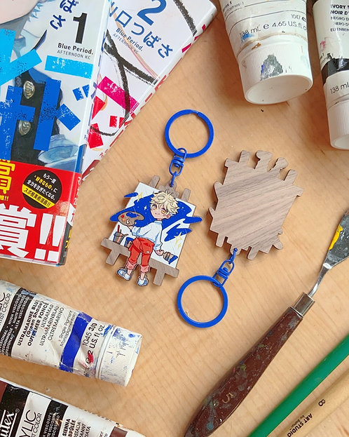 Blue Period Yatora's canvas wooden keychain