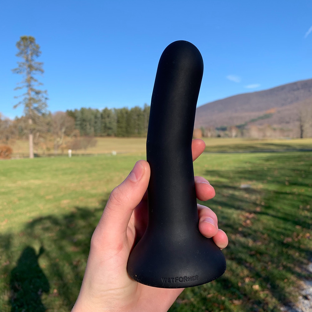 Black dildo held in hand, photographed in natural light in front of natural scenery and mountains.