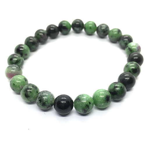 Ruby Zoisite 8mm Beaded Elasticated Bracelet