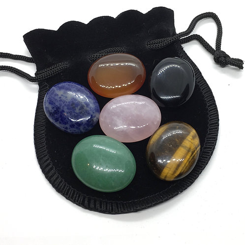 25 mm Palm Stone's in Various Crystals - Plus Free Pouch
