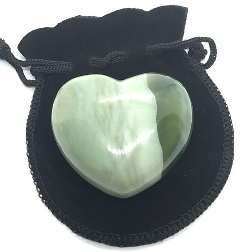 New Jade 45 mm  Heart with Free Pouch