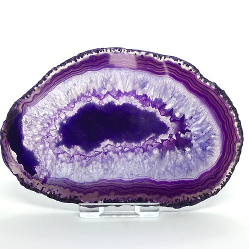 Purple Agate Slice - H - Polished with Free Stand