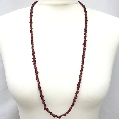 Garnet Pink 90 cm Chip Necklace